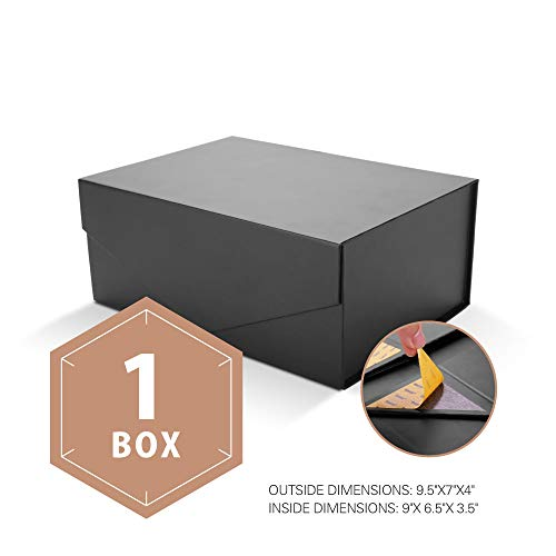 PACKHOME Gift Box Rectangular 95x7x4 Inches Groomsman Box Rectangle Collapsible Box with Magnetic Lid for Gift Packaging Matte Black Embossing 1 Box)