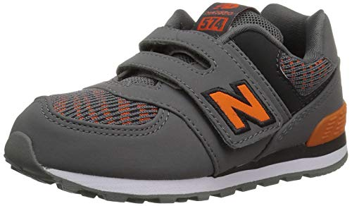 New Balance Boys' Iconic 574 Hook and Loop Sneaker Castlerock/Bengal Tiger 3 W US Infant