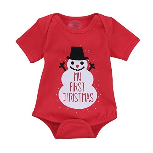 Gotd Newborn Infant Baby Boy Girl Letter Romper Christmas Outfits Clothes My FIRST Christmas Autumn Winter (0-3Months, Red) ()