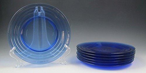 Lot of 7 Hazel-Atlas Glassware MODERNTONE-COBALT BLUE Luncheon Plates EXCELLENT
