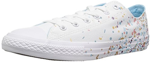 Converse Girls' Chuck Taylor All Star Metallic Foil Low Top Sneaker, Optical White, 4 M US Big Kid ()