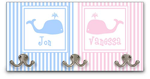 RNK Shops Striped w/Whales Wall Mounted Coat Rack (Personalized)