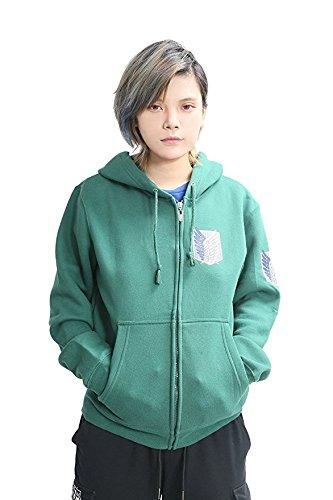Shingeki No Kyojin Ataque a los titanes - Sudadera con capucha, con cremallera, disfraz, cosplay, diseño de logo con alas blanco blanco medium: Amazon.es: ...