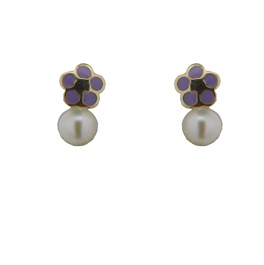 18k yellow gold lilac enamel and Cultivated Pearl flower screwback earrings 4 mm Cultivated Pearl , 4 mm, flower 0.16 inch