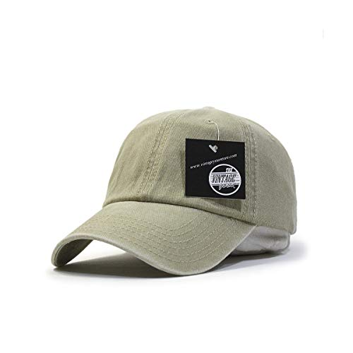 Vintage Washed Cotton Adjustable Baseball Cap (Khaki)
