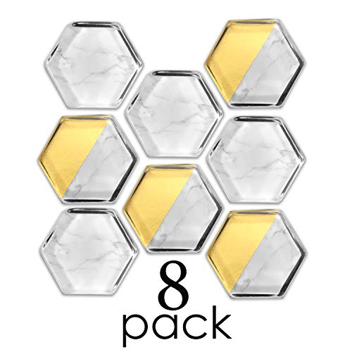 Loddie Doddie 8 Count Glass Hex Magnets | Marble and Gold Designs. Perfect for Office Decor and Classrooms