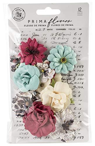 (Prima Marketing 637880 Midnight Garden Mulberry Paper Flowers 12/Pk-Elemental Beauty)