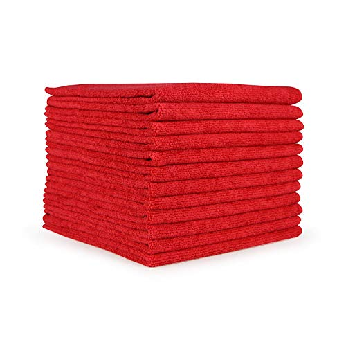Arkwright Smart Choice Microfiber Cleaning Cloths 12 Pack (12 x 12 in, Red)
