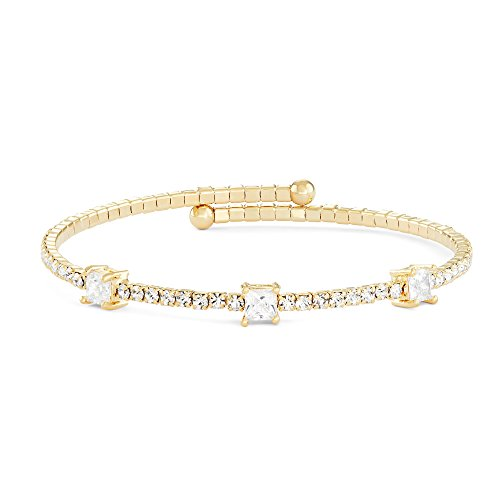 Large Square Bangle - Collection Bijoux 14K Gold, Rose Gold, or Rhodium Plated Large Square Station Wrap Bangle Bracelet with White Crystals