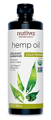 Nutiva Organic, Cold-Pressed, Unrefined Hemp Seed Oil from non-GMO, Sustainably Farmed Canadian Hemp, 24-ounces ()