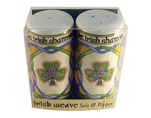 (Irish Salt and Pepper Shaker Celtic Design Shamrock)