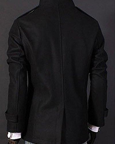 Slim Trench Abrigo Invierno Coat DianShao Negro del Delgado Caliente Parka Hombre Z6XwWXYqO0