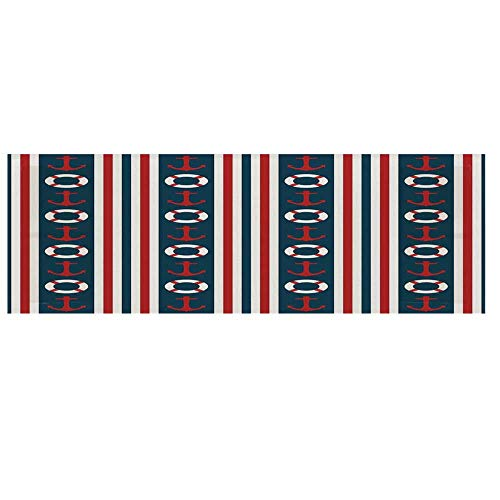 - Nautical Microwave Oven Cover with 2 Storage Bag,Vertical Borders Stripes Maritime Theme Steering Wheel and Anchor Pattern Decorative Cover for Kitchen,36