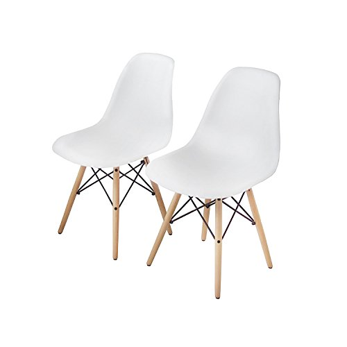 Buschman Set of Two White Eames-Style Mid Century Modern Dining Room Wooden Legs Chairs by Buschman Store