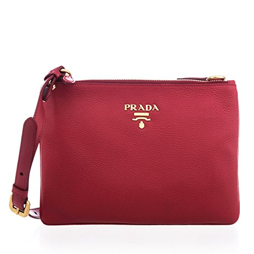Prada Women's Vitello Red Leather Crossbody Shoulder Bag - Handbag Shoulder Prada
