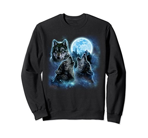 Unisex Three Wolves Howling and Moon, Wolf Sweatshirt Large Black (Sweatshirt Adult Wolf)