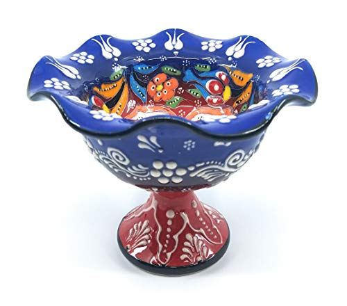 Handmade Turkish Traditional Ceramic Pottery Footed Candy Dish or Server - Small Size (Blue with Red Stem) ()