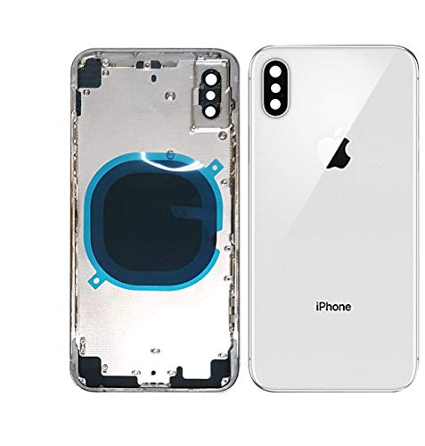 - Back Housing Assembly Metal Frame w/Back Glass(OEM) - Camera Frame and Lens for iPhone X (White)