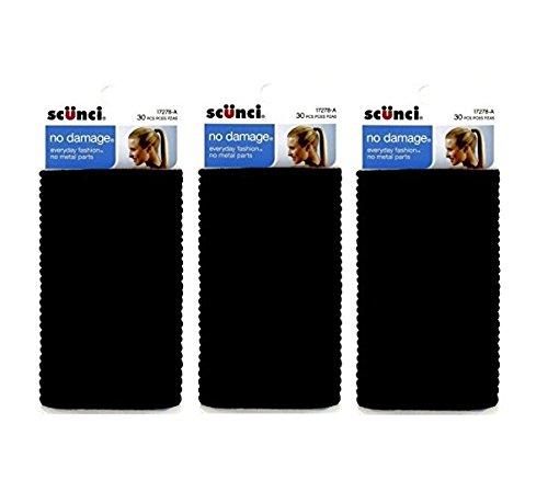 Scunci Effortless Beauty Large No-damage Elastics, 4 MM (90 pieces) ()