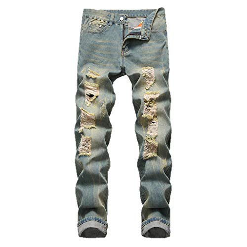 iHPH7 Jeans Pants Men Relaxed Straight-Fit Lightweight Carpenter Jean Fashion Men's Casual Personality Printing Slim Fit Denim Jeans Pants 30 Gray