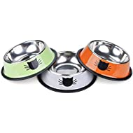 Legendog Cat Bowl Pet Bowl Stainless Steel Cat Food Water Bowl with Non-Slip Rubber Base Small Pet Bowl Cat Feeding Bowls Set of 3 (Multicolor)