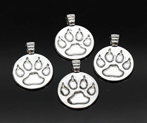 4 Paw Print Pendants, Dog Paw Charms, Dog Footprint Pendants, Antique Silver Tone 21x28mm - ()
