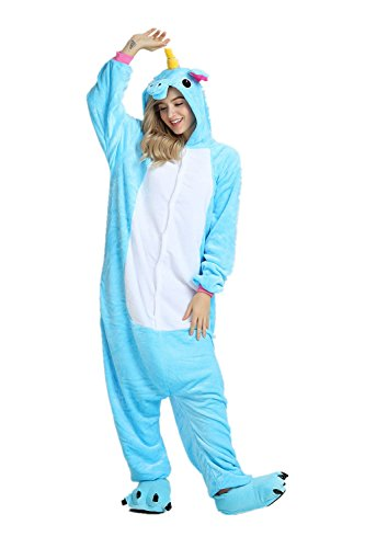Goldtry Unicorn Animal Onesie Cute Teens Halloween Cosplay Costumes Unisex Adult Pajamas (M, Blue -
