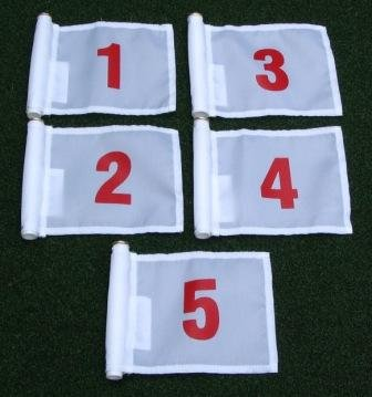 """Set of Red Numbered #1, #2, #3, #4, and #5 each printed on a solid White Jr. (8"""" L x 6"""" H) 400 Denier Pin Marker Flag For Golf & Putting Green Applications"""