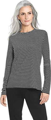 Coolibar UPF 50+ Women's Long Sleeve T-Shirt - Sun Protective (Large- Fine Black/White (Fine Stripe Shirt)