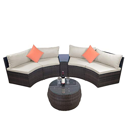 Leisure Zone 6-Piece Patio Furniture Sets, Outdoor Half-Moon Sectional Furniture Wicker Sofa Set with Two Pillows and Coffee Table, Beige Cushions