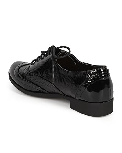 Up Nature Tip Women CH26 Oxford Black Patent Snakeskin Spectator Lace Breeze Wing Black UU4B8Hr