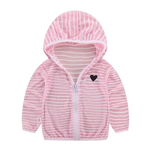 FEITONG Toddler Kids Summer Striped Sunscreen Jackets Baby Girls Hooded Thin Zip Coats(3-4T,Pink)