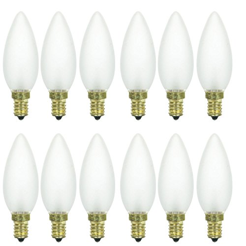 (Sunlite 40CTF/32/E14/12PK 40W Incandescent Torpedo Tip Chandelier with Frosted Light Bulb and European E14 Base (12 Pack))