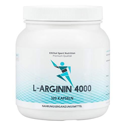 """EXVital L-Arginin 4000 hochdosiert, 320 Kapseln in deutscher Premiumqualität, 2-3 Monatskur, semi-essentielle Aminosäuren. ApoTest:""""Sehr gut"""""""