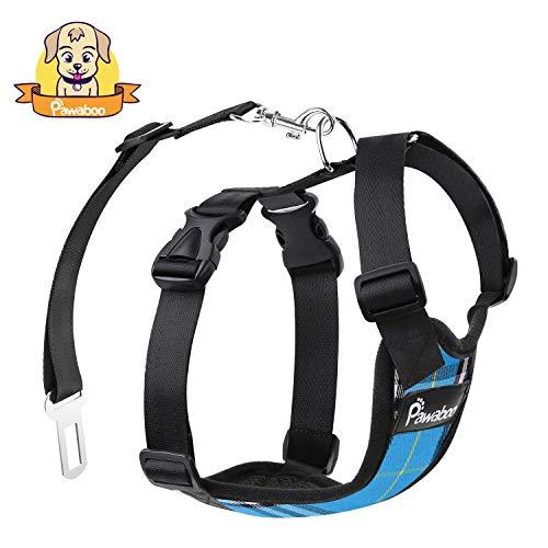 Pawaboo Dog Safety Vest Harness, Pet Dog Adjustable Car Safety Mesh Harness Travel Strap Vest with Car Seat Belt Lead Clip, Suitable for 11 lb-33 lb Dogs, Blue Grid