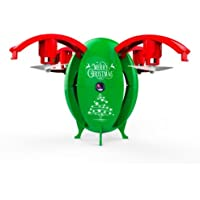 Lizer Christmas Egg Shaped RC Drone With Live Stream WIFI FPV Altitude Hold 720P HD Camera Headless Mode Onekey Unfold Auto hover Auto Landing Christmas Gift Smart Phone and 2.4Ghz RC Drone (GREEN)
