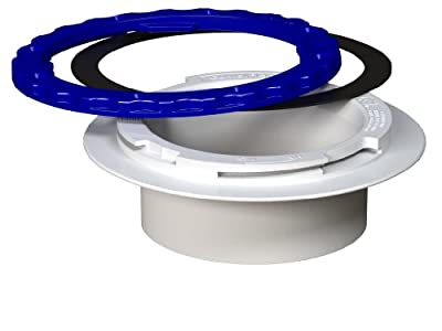 Culwell P4 Premium Property Saving Toilet Flange with PVC Surface Seal Glue-in and White/Blue Ring, 4-Inch