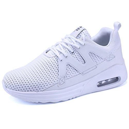 Cushion Sneakers - KRIMUS Mens Walking Sneakers Air Cushion Sports Shoes Breathable Athletic Running Shoes (8, White1)