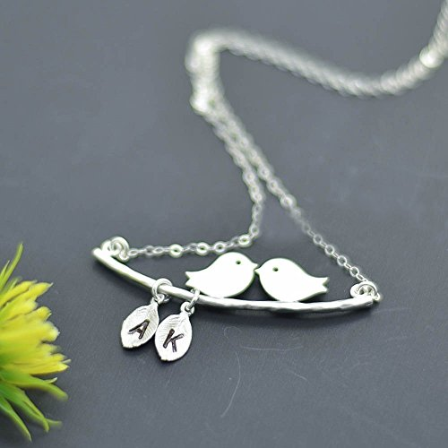 personalized necklace, Loving birds with children name, gifts for her, Love Birds Necklace, Initial Pendant Necklace, Silver Monogram Necklace, Mothers Jewelry, Mothers necklace,