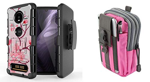 Bemz Bundle Pack Case for Moto Z4: BC Heavy Duty Armor Cover with Belt Holster Clip (Cherry Blossom) with Tactical Organizer Travel Pouch (Pink/Gray) from Bemz Depot