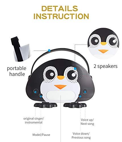 HowQ Outdoor Toys Karaoke Machine , Portable Kids Karaoke Bluetooth Speaker Wireless Cartoon Speaker for Kids for Indoor Toys Travel Activities with Microphone Penguin Karaoke Machine(Black-White) by HowQ (Image #7)
