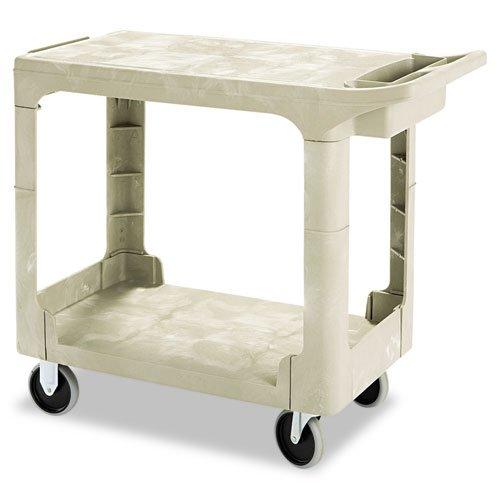 (Flat Shelf Utility Cart, Two-Shelf, 19-1/5w x 37-7/8d x 33-1/3h, Beige )