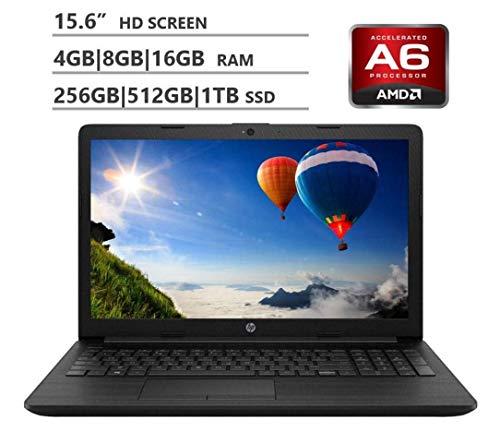 Thin and Light LED Backlight Laptop, AMD A6-9225 2.6GHz, Choose Ram & HD Size (4GB/8GB, 256GB/512G SSD, 1TB HDD), DVD-RW, Gigabit Ethernet, Jet Black, HDMI, Windows 10 ()