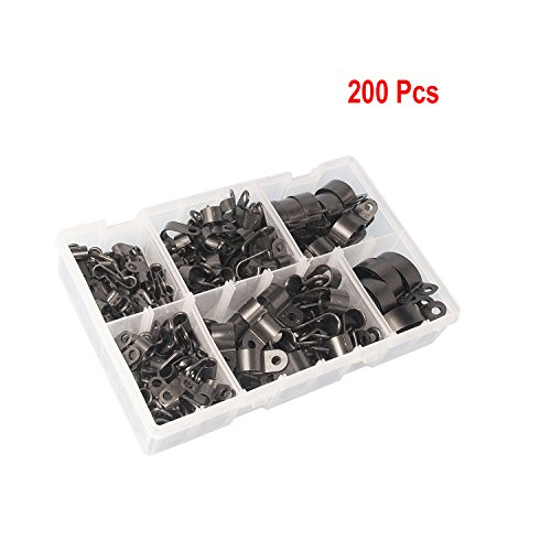 Karcy 200pcs Black Nylon Plastic R-Type Cable Clamp Clips Fasteners Assortment for Cable Conduit 6 Sizes 5-25mm