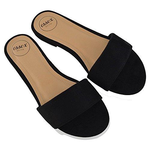 Essex Glam Dames Sandaal Sandalen Casual Platte Sandalen Zwart Faux Suede