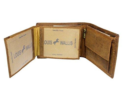 Herren Portemonnaie mit Motiv 100 % echt Leder Geldbörse Braun Geldbeutel Brieftasche Querformat viele Kartenfächer Münzfach Börse Herrenbörse Wildleder Portmonee Wallet | Deutscher Fachhändler