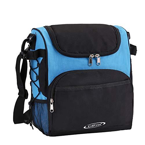 G4Free Large Insulated Lunch Bag Reusable Lunch Box Leakproof Picnic Cooler Bag for Men, Women, Adjustable Shoulder Strap(Black & Blue)