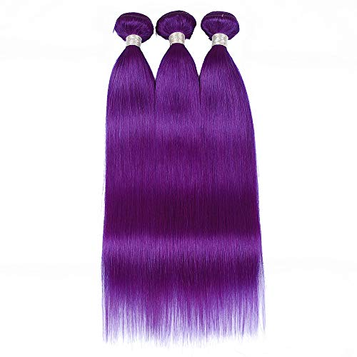 Party Remy Brazilian Virgin Human Hair for African American Woman, 3 Bundles 12 14 16, 100% Handmade Purple Straight Human Hair
