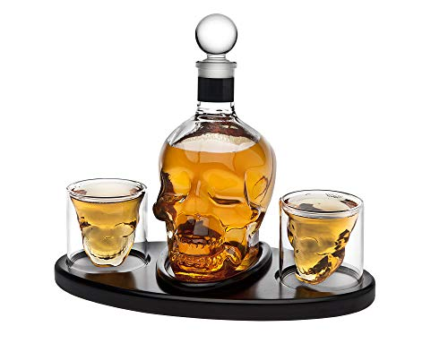 Whiskey Decanter Skull Set with 2 Cocktail Shot Glasses - for Liquor, Scotch, Bourbon or Vodka - 850ml by Godinger (Image #1)