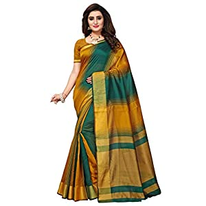 Fab Women Women's Silk Saree With Blouse Piece (Fab1841_Green_Free Size, Green, Free Size)